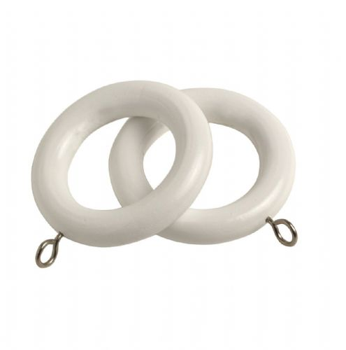 Speedy Victory  28mm Wooden Curtain Rings (Pack of 6) - White